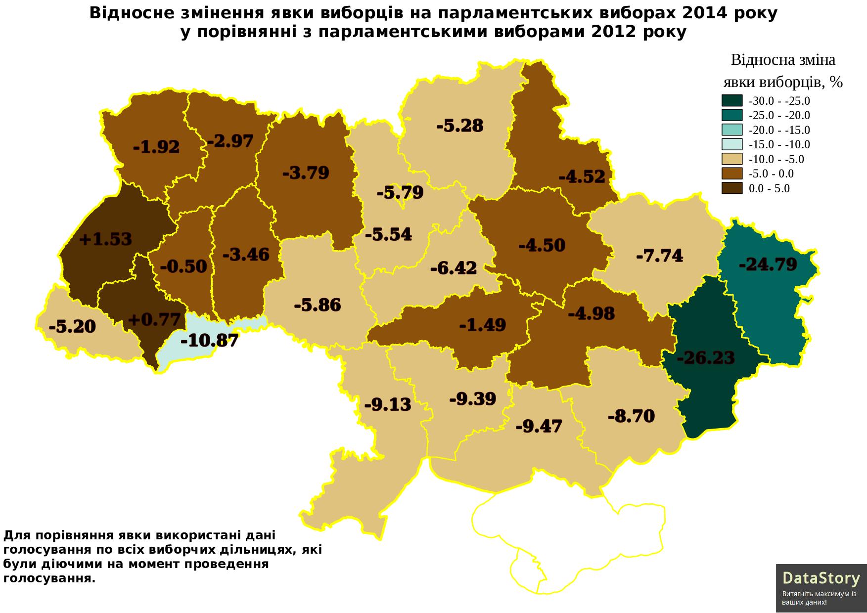 Відносне змінення явки виборців на парламентських виборах 2014 року у порівнянні з парламентськими виборами 2012 року