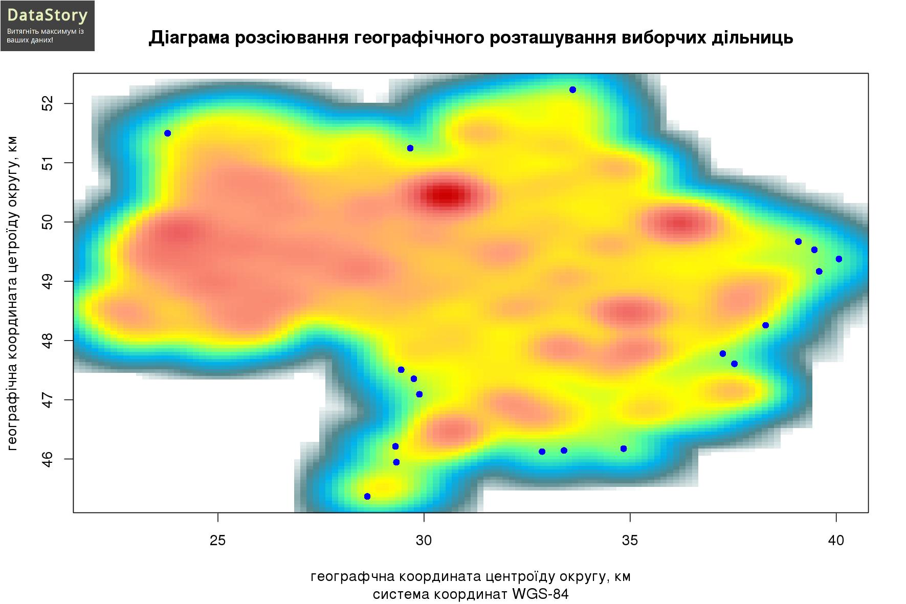 Діаграма розсіювання географічного розташування виборчих дільниць