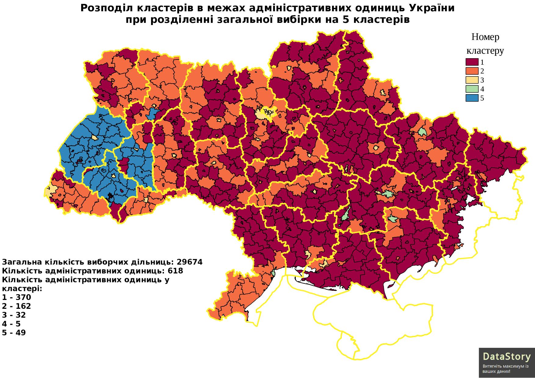 Розподіл кластерів в межах адміністративних одиниць України при розділенні загальної вибірки на 5 кластерів
