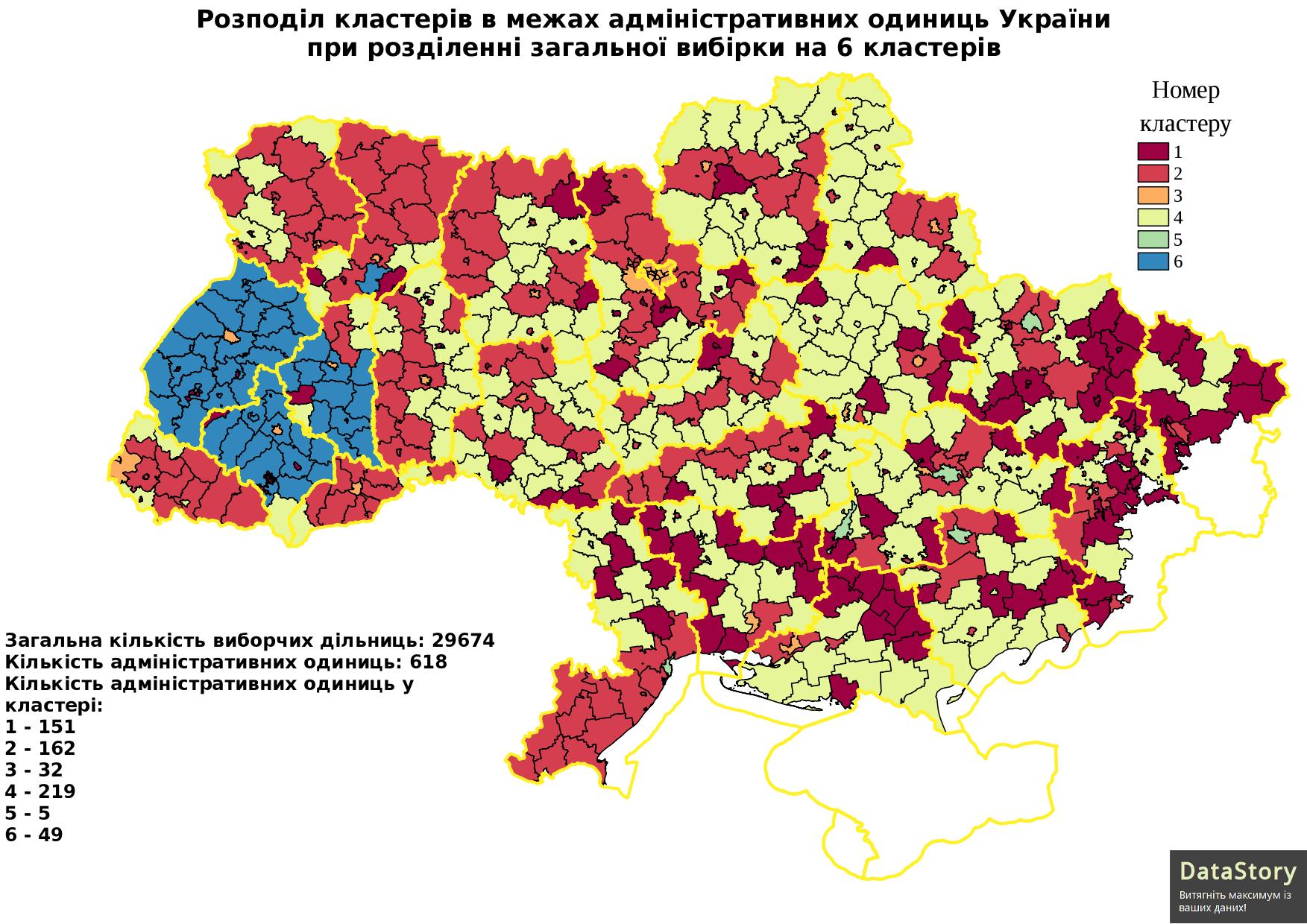 Розподіл кластерів в межах адміністративних одиниць України при розділенні загальної вибірки на 6 кластерів