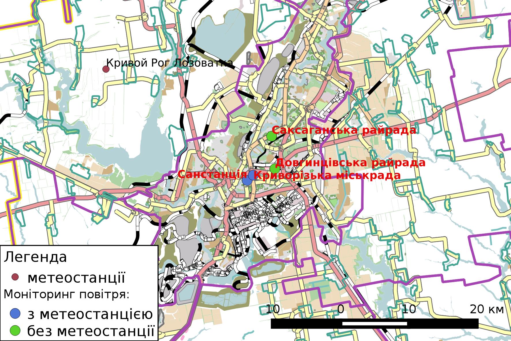 Схема розташування автоматизованих станцій