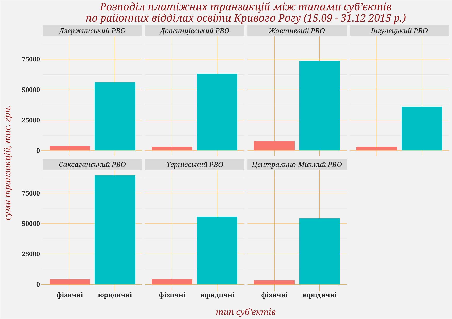 Розподіл платіжних транзакцій між типами суб'єктів по районних відділах освіти Кривого Рогу